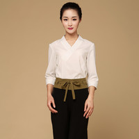 Latest Design Fall/Winter SPA Health Club Uniform 2pcs Beauty Parlor Working Blouse+Wide Trousers Uniforms Tailored Workwear