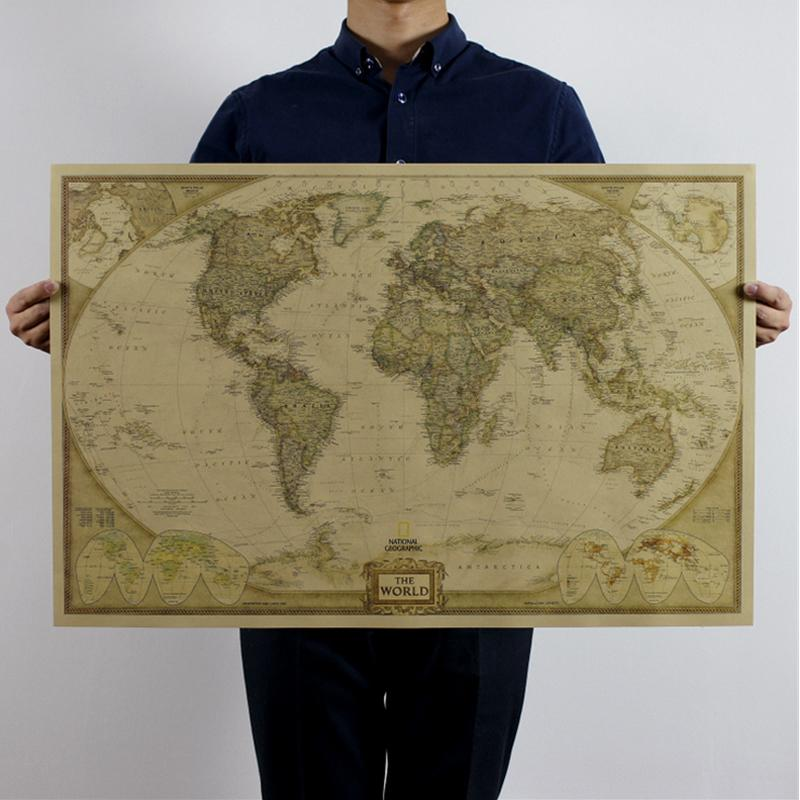 Vintage World Maps Retro Kraft Paper Posters Wall Stickers Home Decor Living Room Decals Mural Art