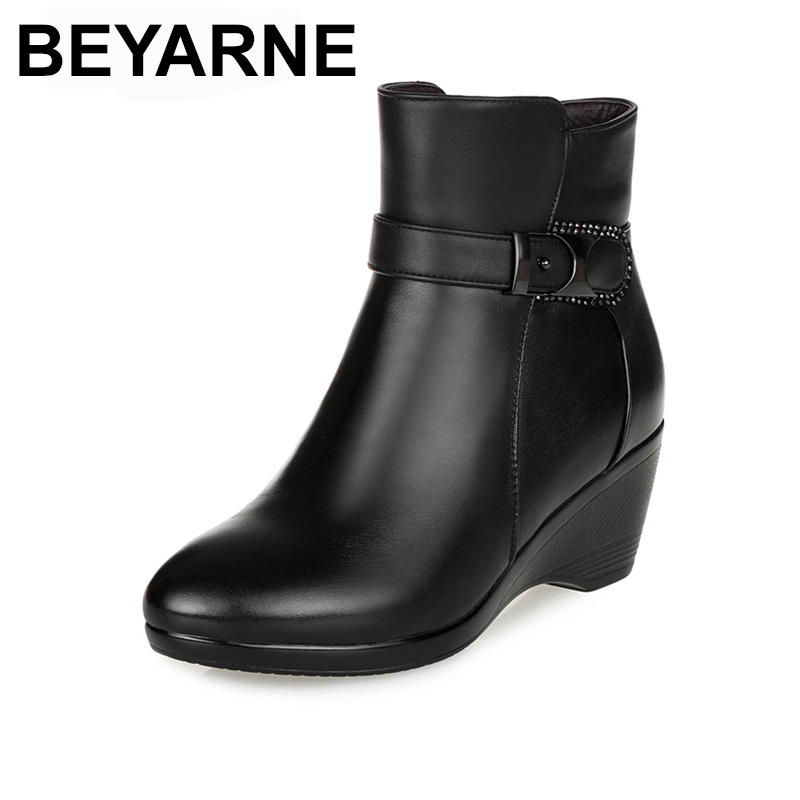 BEYARNE Newest Keep Warm Women Winter Boots High Quality Genuine Leather Wear Resisting Casual Shoes Wedges