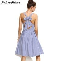 Naive Shine mujeres vestidos vendaje Cruz arco Midi vestido de verano azul rayas sin mangas Sexy Backless Vintage vestido de fiesta Sundress