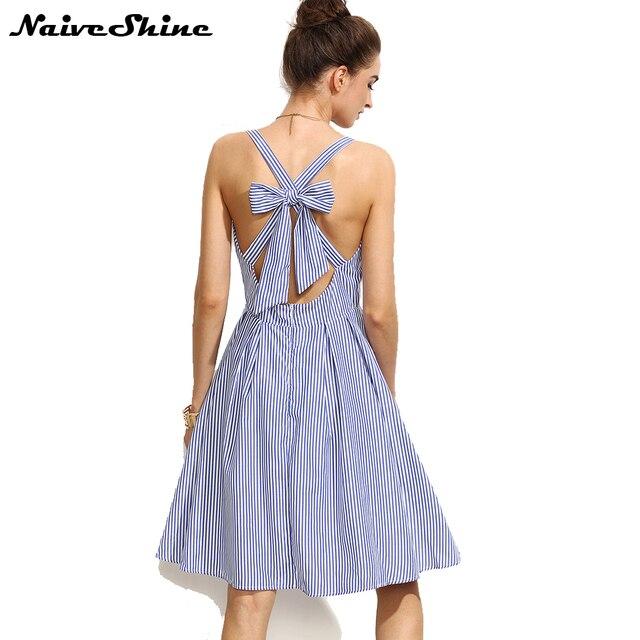 b8e3da4d2 Naive Shine mujeres vestidos vendaje Cruz arco Midi vestido de verano azul  rayas sin mangas Sexy