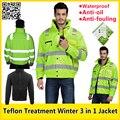 """EN471 Высокая видимость 3 в 1 Светоотражающие безопасности Куртка """"пилот"""" с тефлоновое покрытие спецодежды зимнее пальто бесплатная доставка"""