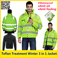 EN471  High visibility 3 in 1 Reflective safety bomber Jacket with Teflon treatment  workwear winter coat free shipping