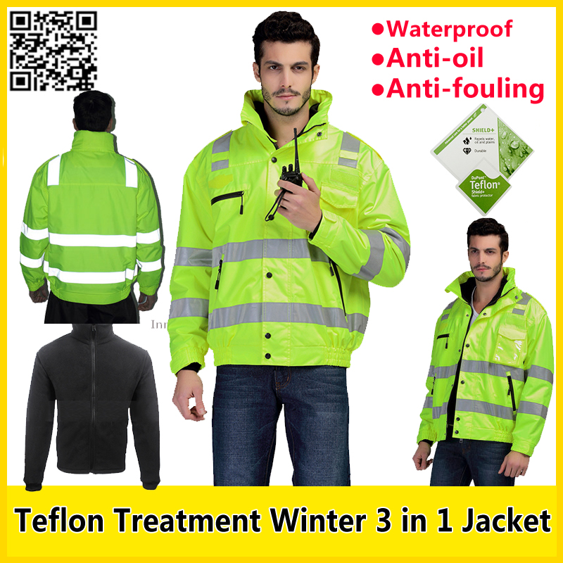 SFvest EN471  High visibility 3 in 1 Reflective safety bomber Jacket with Teflon treatment  workwear winter coat free shipping