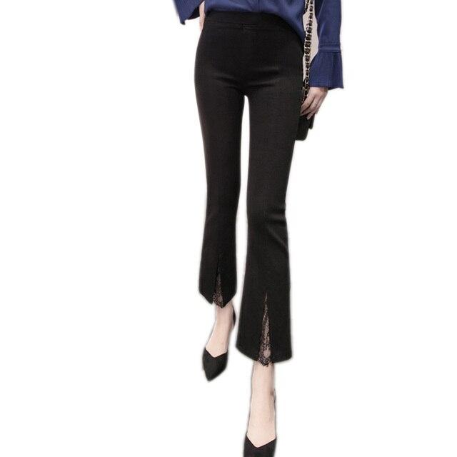 Summer Spring Pencil Pants Women Lace Split Ankle Length Female Pants Black Elastic Waist High Street Fashion Trousers Capris