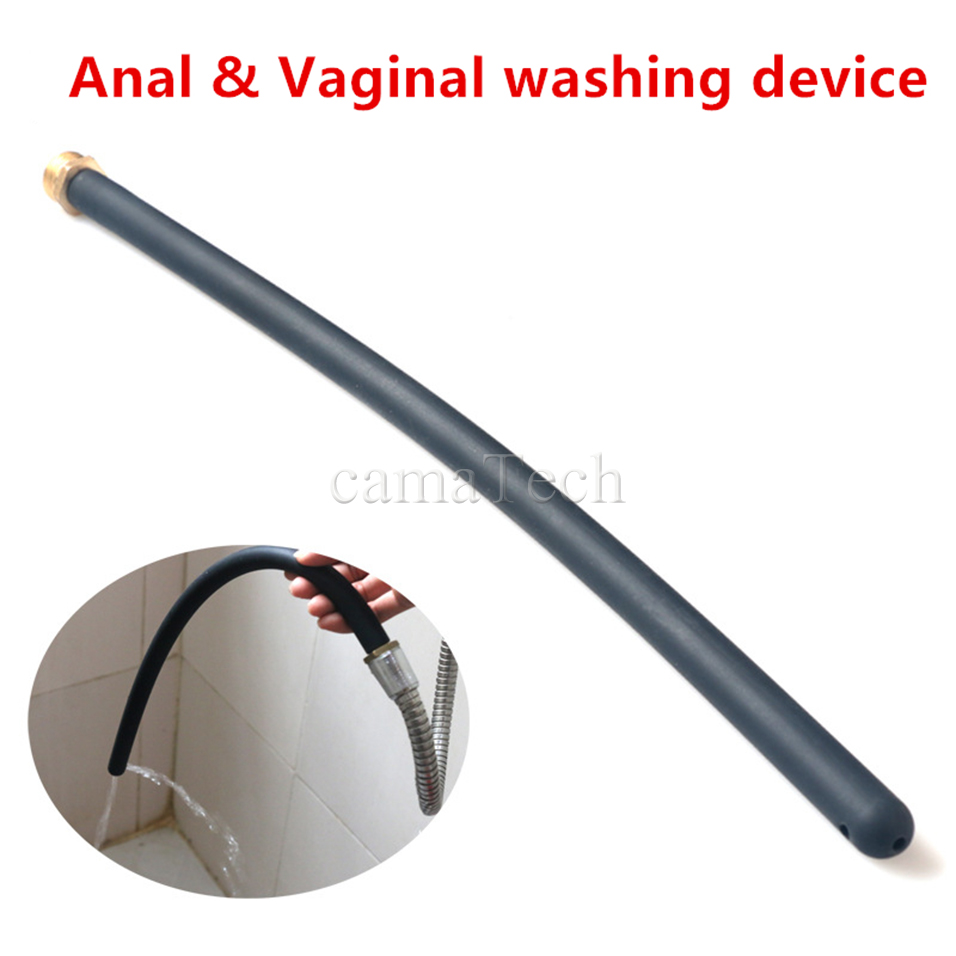 camaTech 45CM Long Anal enema Cleaning Tube Vaginal Cleaner Anus Douche Soft Silicone Nozzle Attachment Shower Tip For Enemator image