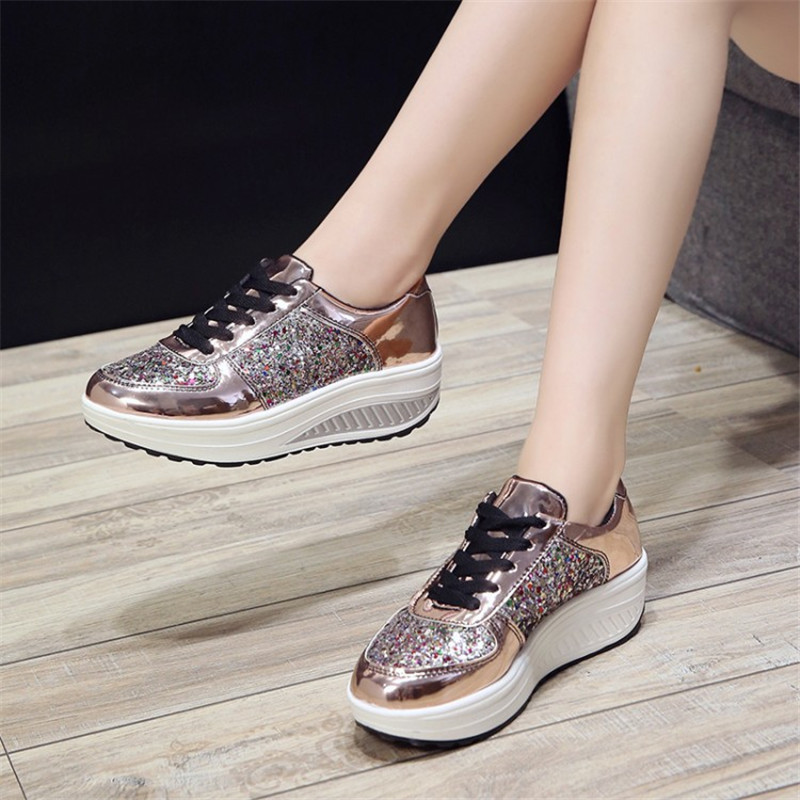 Detail Feedback Questions about COOTELILI Autumn Women Sneakers Flat  Platform Casual Shoes Woman Flats Oxfords Lace up multicolor glitter 35 41  on ... 1469eed6c597