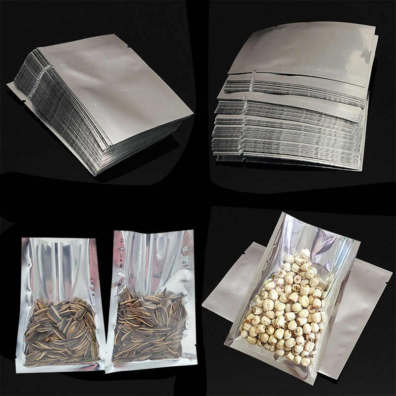 100pcs Heat Seal Storage Bags Aluminium Foil Vacuum Sealer Pouches Food Grade For Nuts can CSV