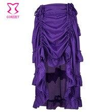 19496d60b2 Púrpura asimétrico Victorian ruffle largo Gothic Steampunk falda más tamaño falda  sexy vintage underskirt Faldas para las mujere.