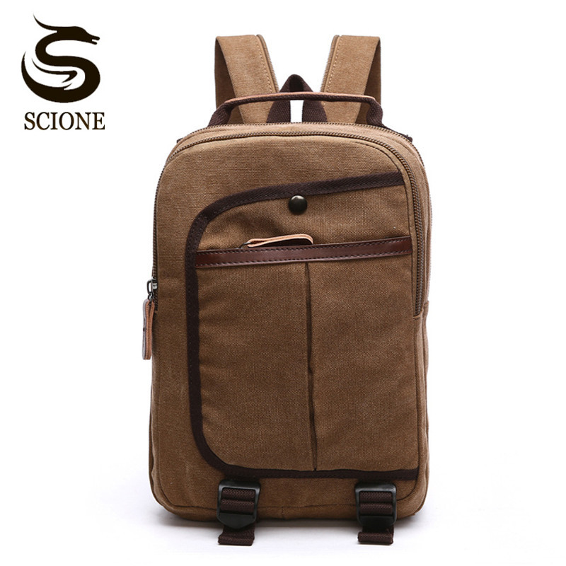 Scione Men Women Canvas Backpack Fashion Casual Shoulder Bag Small Travel Backpacks for Male Female Rucksack School Bags Mochila aosbos fashion portable insulated canvas lunch bag thermal food picnic lunch bags for women kids men cooler lunch box bag tote