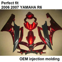 Injection molded fairing body kit for Yamaha YZF R6 2006 2007 wine red matte black motorcycle fairings set YZFR6 06 07 BN12