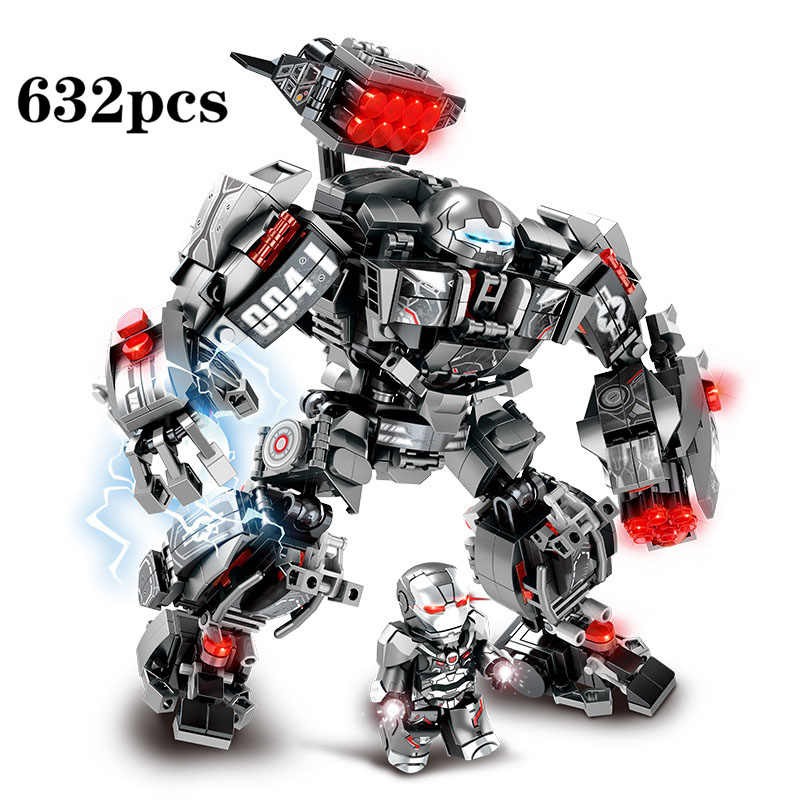 632Pcs Marvel Avengers Endgame Super Heroes Iron Man Hulkbuster Mech Warrior Building Blocks Toys For children Christmas Gifts