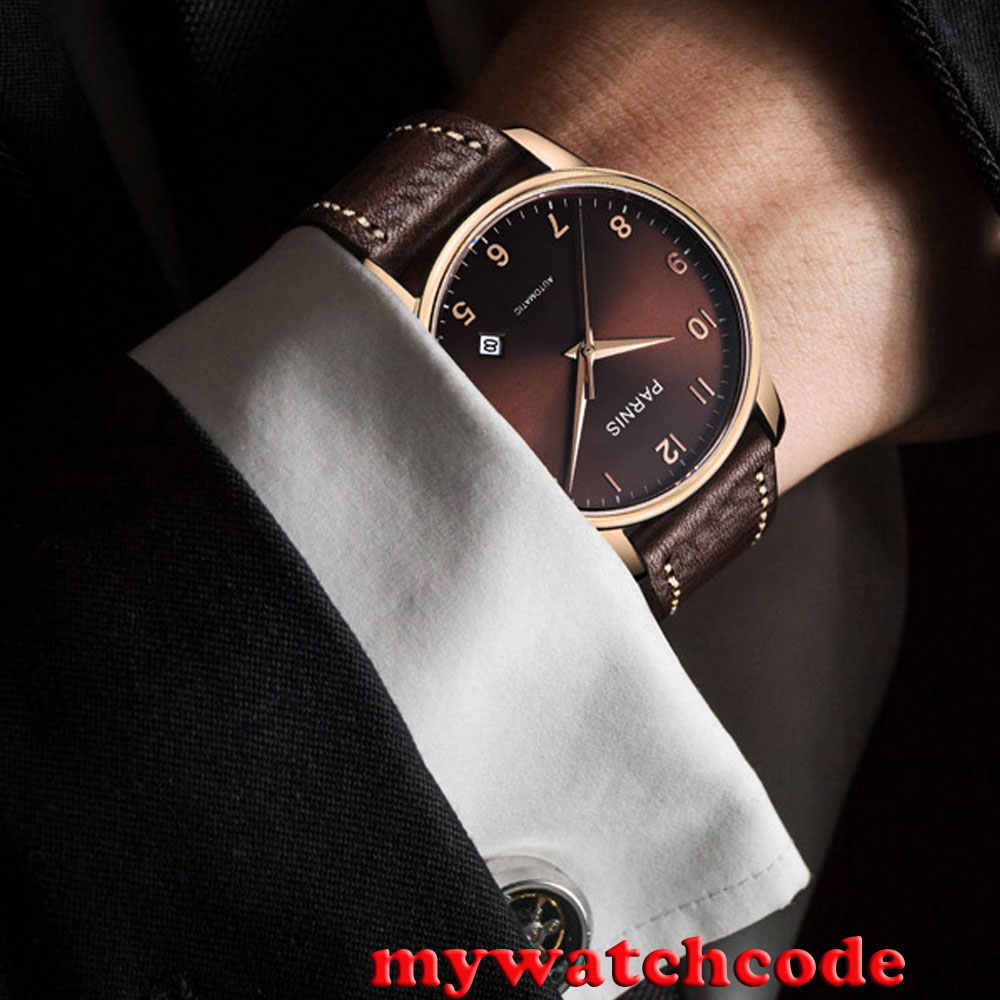 863ee1b59 ... 38mm Parnis coffee dial rose golden case Sapphire glass Automatic Mens  watch 824 ...