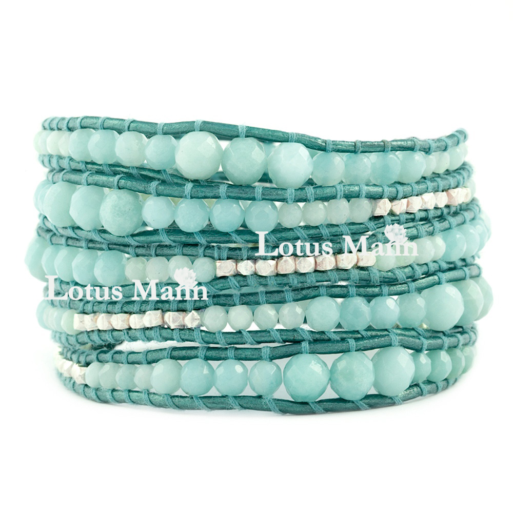 Lotus Mann Natural stone amazon amazonite metallic blue leather rope five laps silver bead bracelet цена