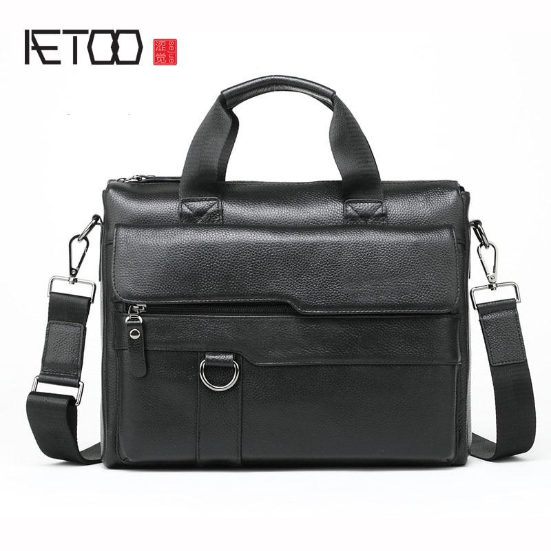 AETOO New Casual Leather Men's Briefcase Computer Bag Portable Shoulder Bag Messenger Bag Leather Men's Bag