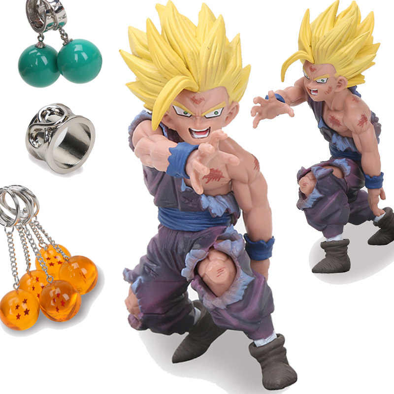 12 centímetros Figura Dragon Ball Son Gohan Cosplay Brincos VITRINE DRAMÁTICA Bola Estrelas Chaveiro PVC Action Figure Collectible Modelo Toy