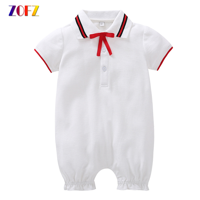 77666fd12999 ZOFZ New Baby Clothes Girls White Cotton Short-Sleeved Rompers Soild Cute  Romper with Bow tie Fashion Baby Girl Summer Clothes