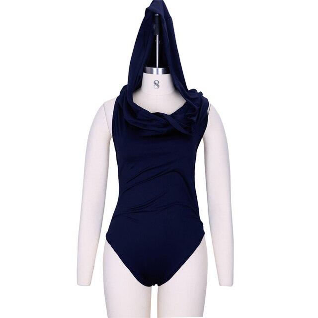 Preself mono atractivo de las mujeres del verano sombrero encapuchado cruzado backless clubwear partido stretch body cuello de la capucha del mono azul color blanco