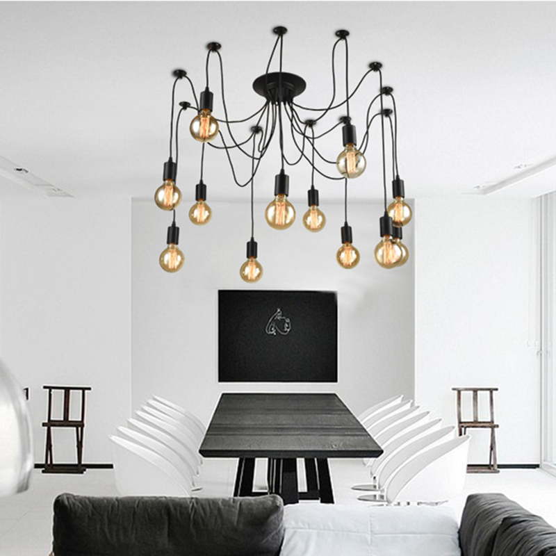 Nordic Retro   Chandelier Vintage Loft Antique Adjustable DIY E27 Art Spider Ceiling Lamp Fixture Light loft antique retro spider chandelier art black diy e27 vintage adjustable edison bulb pendant lamp haning fixture lighting
