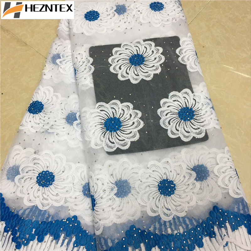 African Lace Fabric 2019 Embroidered Nigerian Stones Laces Fabric High Quality French Tulle Lace Fabric For