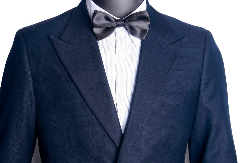 Bleu nuit subtil Glen Check hommes costume sur mesure Slim Fit Glen Plaid deux pièces costume décontracté pic revers avec poche Ticket-in Costumes from Vêtements homme    2