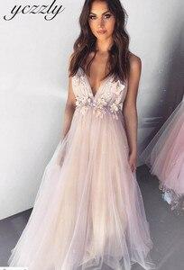 Image 3 - Vestido Noiva 2020 סקסי ספגטי רצועות ללא משענת פרחי חוף חתונת שמלה ארוך קריסטל Boho חתונה שמלות רצפת אורך W30