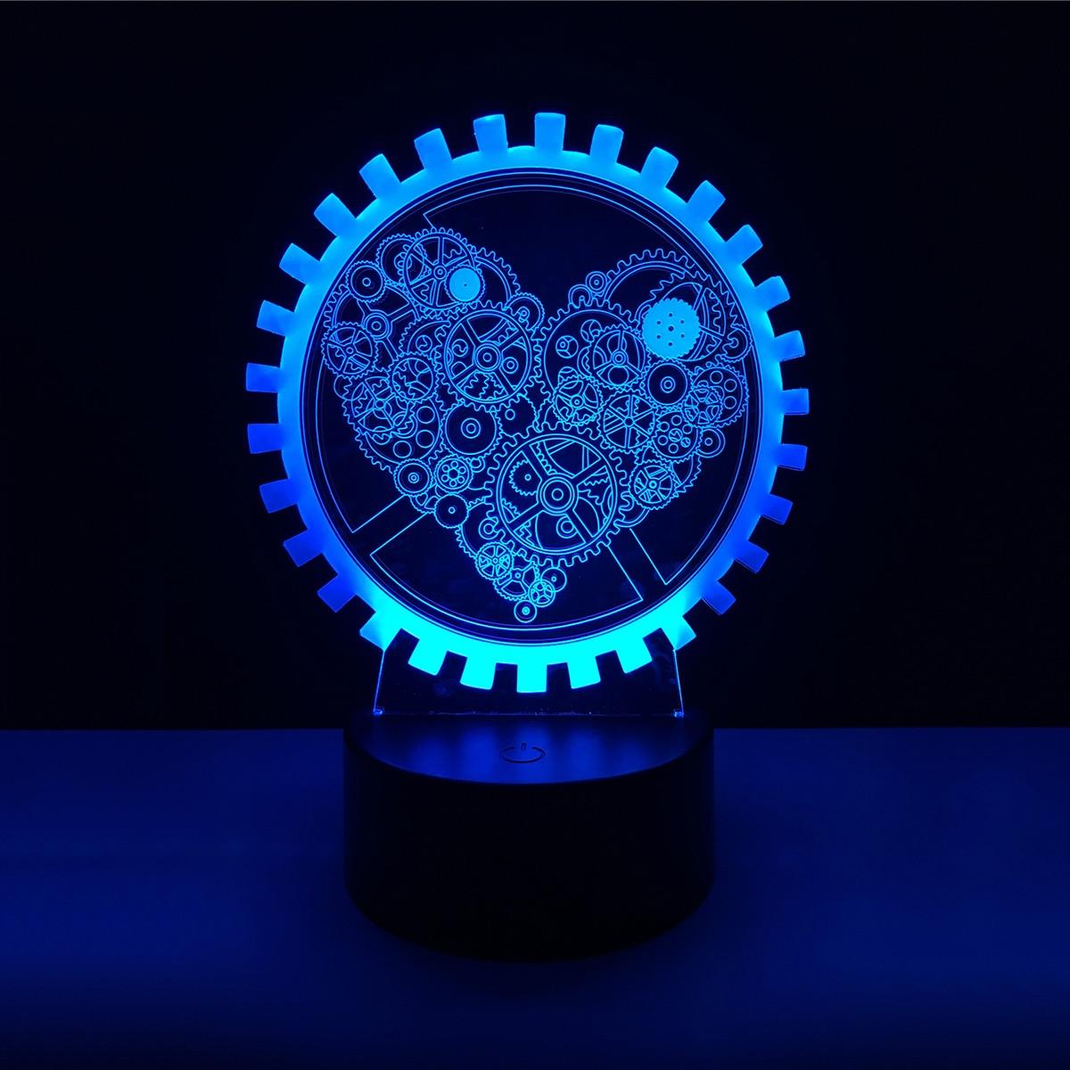 3D Machine wheel Acrylic LED Lamp 3D Baby Night Light Sleeping Lighting For Children Night Light Xmas New Years