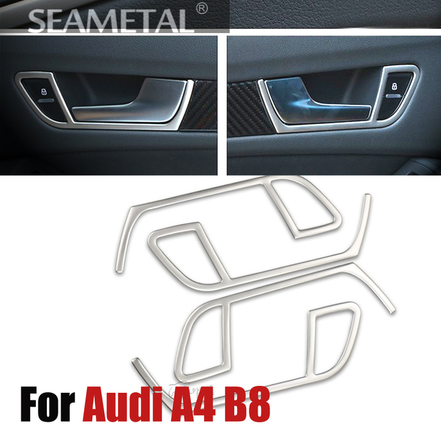4 Pcs/Set Car Styling Stainless Steel Inner Door Handle Frame Cover Trim For Audi A4 B8 2009 2010 2011 2012 2013 2014 2015