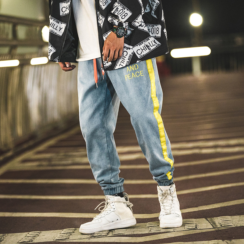 Japanese Style Fashion Men Jeans Ribbon Patch Loose Fit Cargo Pants
