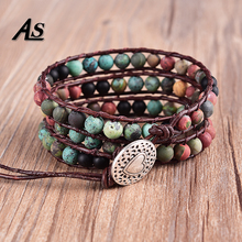 Asingeloo Natural Matte Stone 6mm Afric Turquoise Beads Leather Bracelets 3 Wraps Handmade Vintage Jewelry Bracelet for Women
