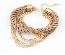 SBY0276 2014 Fashion hot sale Charm Chain Gold Heart Leather Bracelets Jewelry,jewelry for women