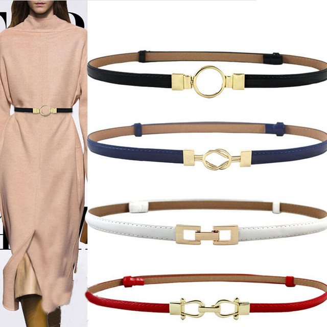3 Color Women Black White Waist Band Thin Elastic Waist   Belt   Dress Apparel Accessories