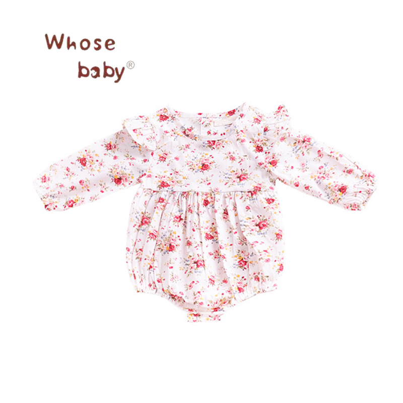 Toddler Baby Girls Bodysuits RufflesFloral Jumpsuit Long Sleeve Infant Girl Bodysuit 201 ...