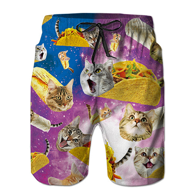 Mens Swim Trunks Summer Cool Quick Dry Cat Pizza Skull Print   Board     Shorts   Bathing Suit With Side Pockets Mesh Lining