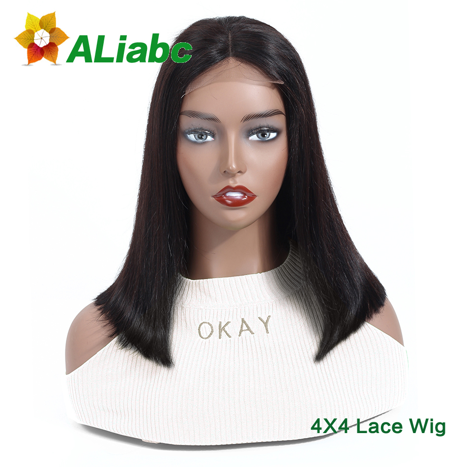Aliabc 4 4 Lace Closure Bob Wigs Human Hair Wigs For Black Women Indian Straight Remy