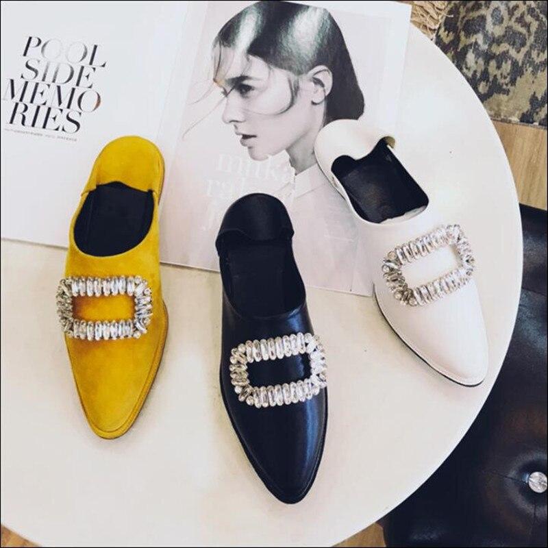 Демисезонный острый носок удобная обувь на плоской подошве Для женщин замшевые Туфли без каблуков и тапочки обувь со стразами Декор Chic Улич