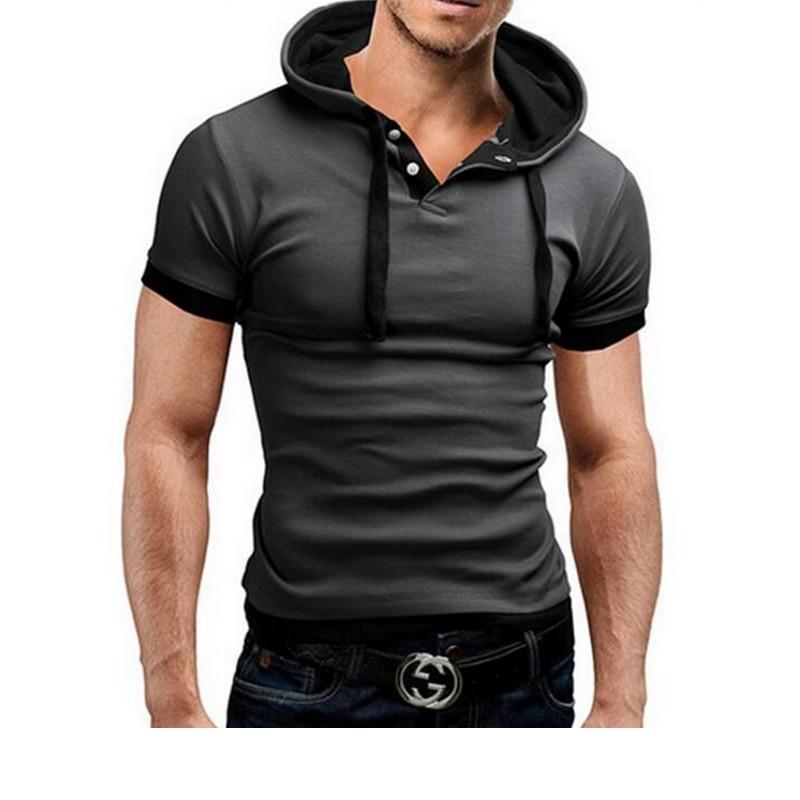 T-shirt férfi márka 2018 divat férfi kapucnis gallér Sling design felsők és pólók póló férfi rövid ujjú vékony póló Homme 5XL NFSD