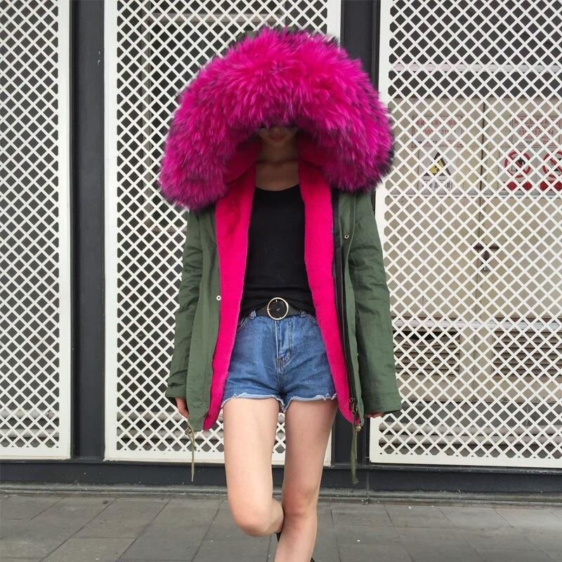 Eouropean Collar La Énorme Jzayv Famille Parka Pour Rose Dames Vêtements Chaud 2018 Raccoon Mode Fourrure ZAqz0
