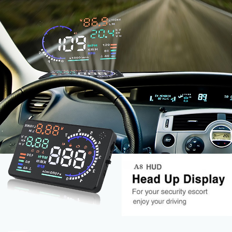 A8 GPS Speedometer 5.5 Inch Screen LED Car HUD Two Systems OBDII OBD2 Head Up Display Auto Vehicle Safety Driving Universal F a900 3 5 inch car hud head up display obdii interface