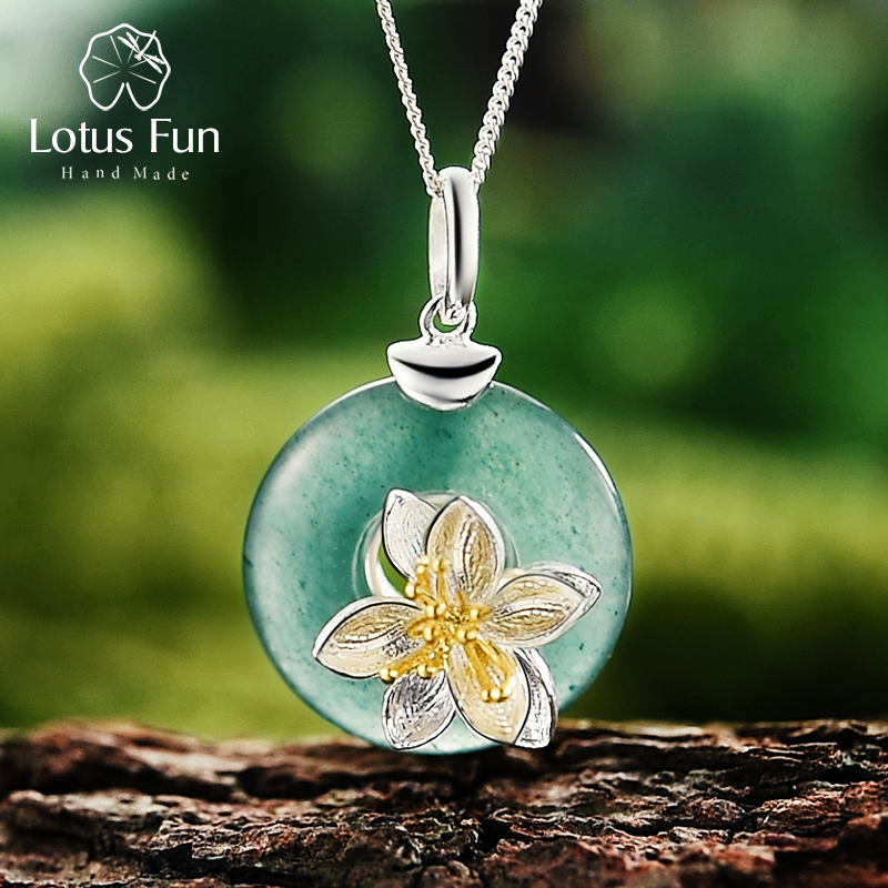 Lotus Fun Real 925 Sterling Silver Natural Aventurine Green Gemstone Design Fine Jewelry Lotus Whispers Pendant without Necklace