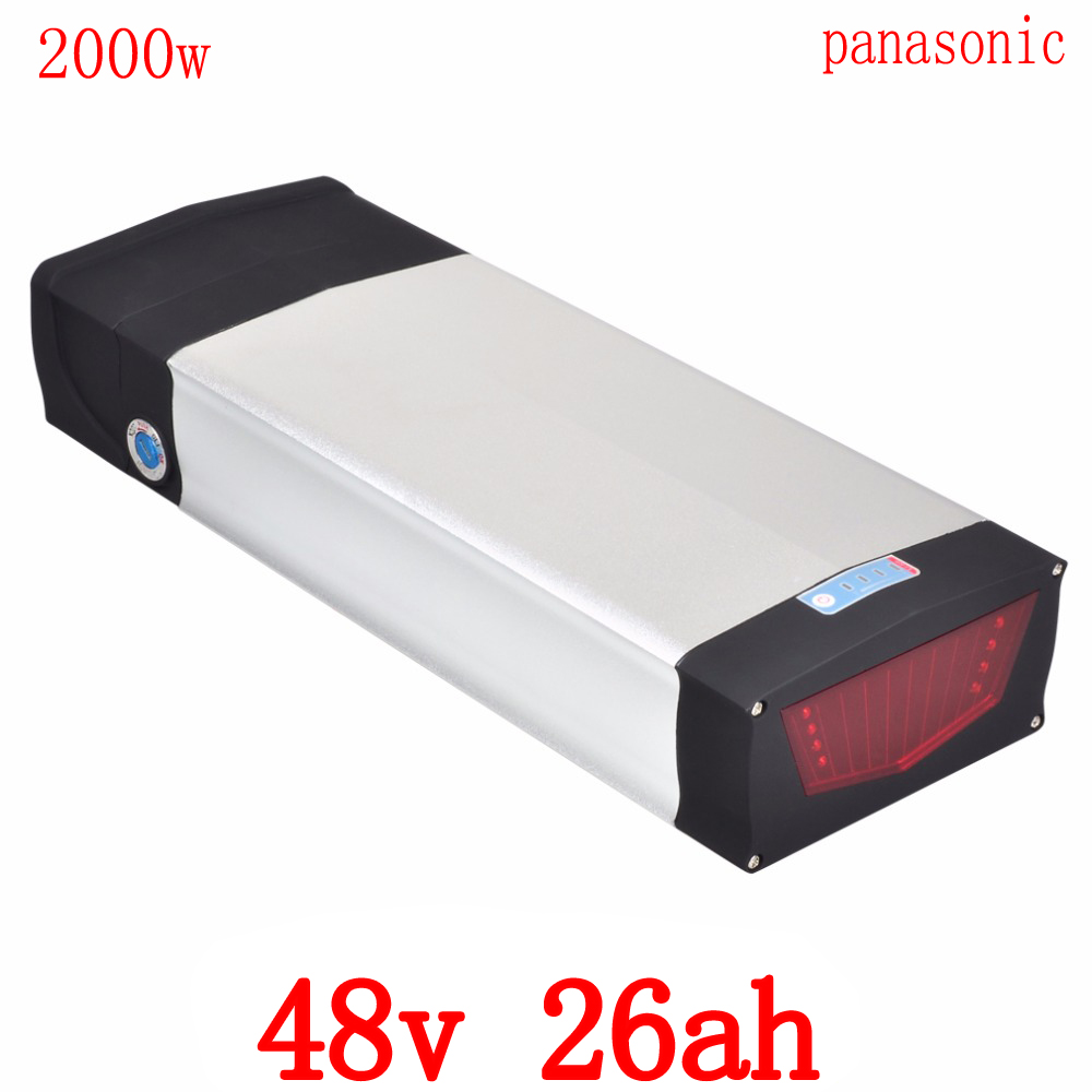48V 2000W battery 48V 26AH electric bicycle battery 48V 26AH Lithium battery use panason cell with USB port +54.6 2A charger