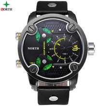 Moda Reloj Deportivo Hombres Zona Horaria Múltiple Reloj de Cuarzo Militar Hombres Reloj Deportivo de Lujo A Estrenar de Acero Inoxidable A Prueba de agua