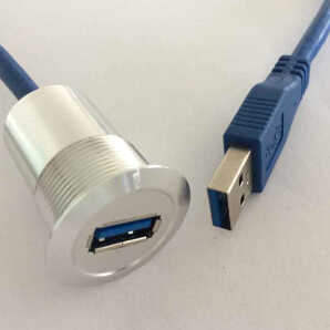 22mm metal USB connector/USB socket  USB3.0 FEMALE A - MALE A with 60cm wiring