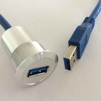 22mm Metal USB Connector USB Socket USB3 0 FEMALE A MALE A With 60cm Wiring