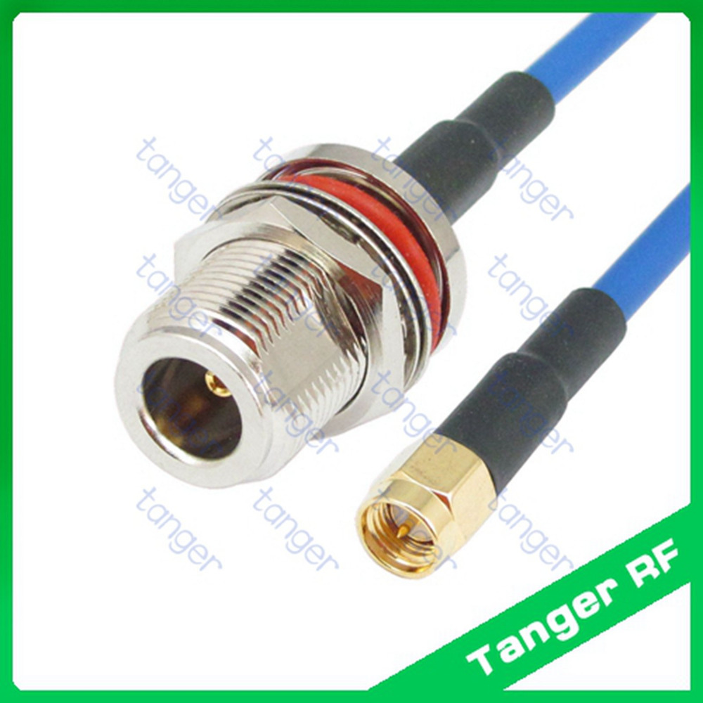 N female waterproof connector to SMA male plug with 20in 50cm RG402 RG141 RG-402Blue Coaxial Jumper Semi Flexible Low Loss Cable sale 10cm sma male to sma female rg141 extension cable made with semi rigid cable high quality jackplug wire connector