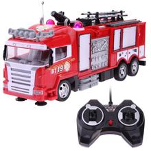 Plastic Simulation Fire Truck RC Vehicles Toy Fun Light Flashing Sound Spray Water Remote Control Firetruck Car Toy for Boys
