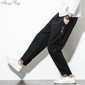 Tradycyjna chińska odzież dla mężczyzn wushu odzież kung fu spodnie lniane mężczyzna chiński spodnie wing chun odzież G204 tanie i dobre opinie COTTON Linen Sukno sheng peng