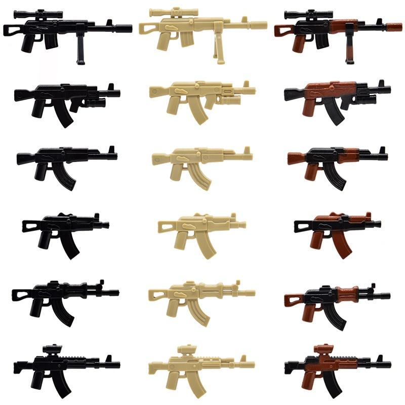 10pcs/lot WW2 Military AK Series Rifle AKM AK-SV AK-12 AK-GL AK-Apoc MOC Weapons Guns Building Blocks Bricks Toys for Children 8 in 1 military ship building blocks toys for boys