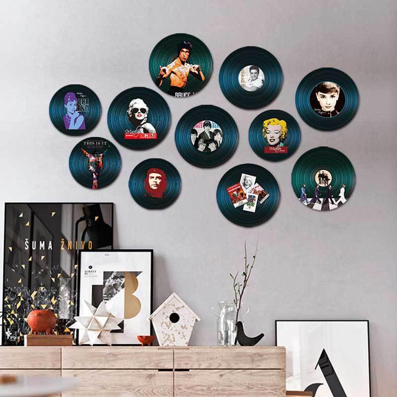 Américain rond Vintage vinyle Record décor Mural maison Restaurant Bar maison salon décoration riche Texture bois peinture murale