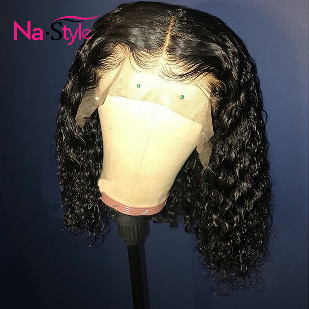 Water Wave Curly Wig Bob Wig Short Hair Curly Human Hair Wig Pre Plucked Lace Wig